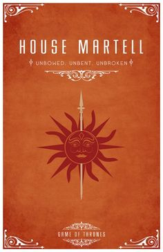 """House Martell Sigil - A Red sun impaled on a Golden Spear Motto """"Unbowed, Unbent, Unbroken"""" After watching the awesome Game of Thrones series I became s. Casas Game Of Thrones, Arte Game Of Thrones, Game Of Thrones Poster, Game Of Thrones Party, Game Of Thrones Series, Game Of Thrones Fans, House Martell, What Is Cosplay, Serie Got"""