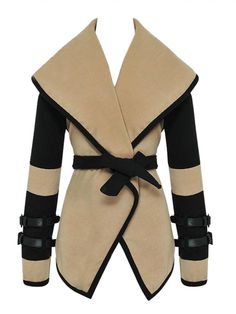 Buy Beige Lapel Woolen Coat With Belt from abaday.com, FREE shipping Worldwide - Fashion Clothing, Latest Street Fashion At Abaday.com
