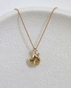 Spakling Flame Necklace/ 14k gold and diamonds | yajewelry