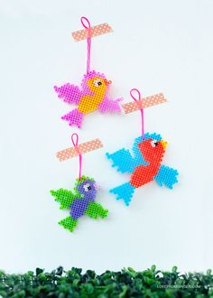 DIY Fusible Bead Birds: Lovely Tutorial and free pattern by Love From Ginger.