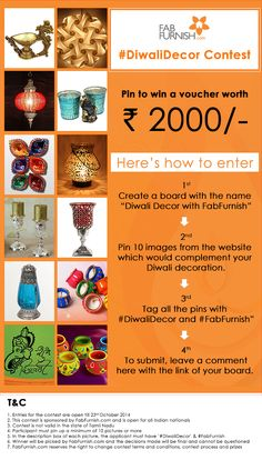 Contest Alert! #DiwaliDecor  Let your place shine the brightest! Pin all the items you wish to add to your place this #Diwali and stand a chance to win a voucher worth Rs. 2000/-.