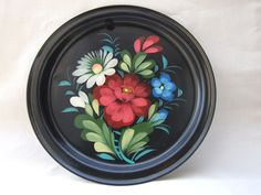 Hand painted #tin #plate #handpainted etsy.com/shop/VintagePolkaShop  #etsy #etsyplate #wallhanging