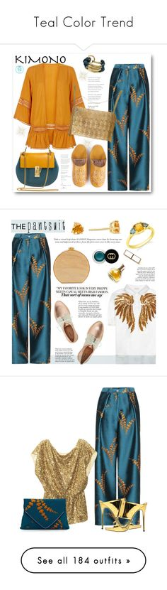 """Teal Color Trend"" by yours-styling-best-friend ❤ liked on Polyvore featuring teal, Bohemia, Dries Van Noten, New Look, New Arrivals, Saachi, kimonos, Edie Parker, Maryam Keyhani and Gucci"