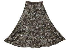 "Long Skirt Bohemian Skirts for Women Brown Printed Boho Crinkled Maxi Skirt 35"" Mogul Interior,http://www.amazon.com/dp/B00D6CMPVG/ref=cm_sw_r_pi_dp_I4.RrbDEAC204ABD"