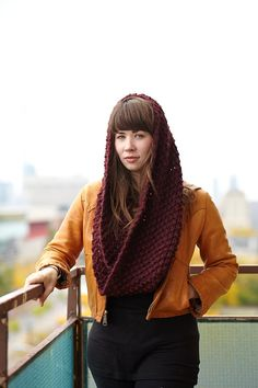 Chunky Burgundy Cowl in Mulled Wine Honeycomb by EmmyLouKnits, $65.00