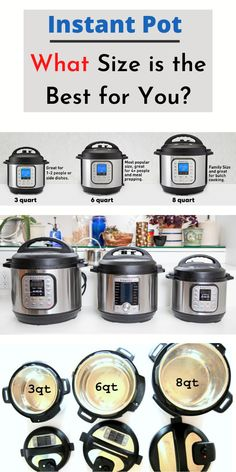 """Instant Pot Size 2020 - Which Instant Pot Size is the Best For you?   What size Instant Pot is the best for you?  One of the biggest questions around forums is what is the difference between instant pot sizes? or what Instant Pot size should I buy?"""" And its something that you need to get an answer before to buy any pressure cooker.  #instantpot #pressurecooking #healthy #review #recipes  #easyrecipes #dinner #easydinner"""