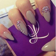 Nude Swarovski crystal nail art
