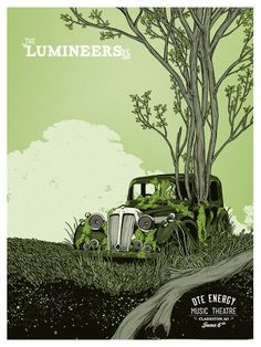Cool Lumineer's gig poster with illustration of old car with a tree growing up through it. #lumineers #poster #illustration