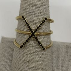 Stella & Dot Pave Sphinx Ring M/L - NEW This ring has hand set jet black micro pave stones. Brand new, never worn. M/L fits ring sizes 7 - 9. Has shiny gold plating. Stella & Dot Jewelry Rings