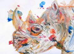 Archival pigment print (giclee print) of a colourful rhino, from an original acrylic painting made from sketches of black rhinos at a UK conservation park by Caroline Skinner. Ideal gift for African wildlife fans, especially anyone who loves magnificent black rhinos.   PRODUCT DETAILS  • Giclee print (archival pigment print) of a colourful rhino, from an original acrylic painting by Caroline Skinner • Printed with pigment inks on 315g archival fine art paper to prevent fading • Image size 8…