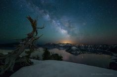 """Crater Lake - """"Please view on Black""""  Re-edited version of an earlier composite of two photos taken at Crater Lake in May 2014."""