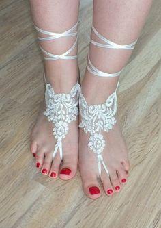 ivory bridal anklet Beach wedding barefoot sandals by geranum, $23.90