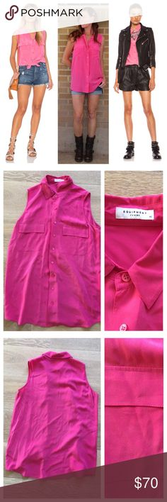 Equipment Pink Slim Signature Sleeveless Blouse XS Excellent condition. Size XS. Can be worn tied up, tucked in, or loose. Great to wear from work out to drinks! 100% Silk. Sleeveless slim signature. Magenta. A sleeveless version of our slim signature, the sleeveless slim signature is a timeless classic cut with a slight oversized fit. With two front pockets and a rounded hem, it's an easy to wear shirt year round. 100% Silk. Dry clean. Imported. Equipment Tops Tank Tops