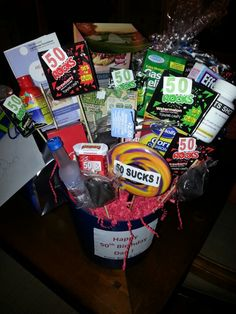 50th Birthday Basket Gag Gifts Party