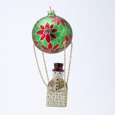 David Strand Designs Glass Frosty Skies Poinsettias Snowman Christmas Ornament >>> To view further for this item, visit the image link. (This is an affiliate link) #CozyHomeDecor