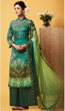 Greenish Blue Color Chiffon Printed Evening Wear Palazzo Pant Dress | FH540381261 >>>Follow us @heenastyle <<< --------------------------------- #sardarni #indiandesigner #punjabibride #punjabisuits #indianfashion #indianweddings #punjabijewelry #indianjewelry #hudabeauty #jewels #pinkorchidstudio #newyork #asianwedding #bridaljewelry #desifashion #allthingsbridal #desibeautyblog #sikhbride #instafashion #dressyourface #sonamkapoor #desifashion #instabollywood #heenastyle