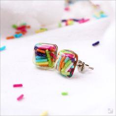 Sprinkles Cube Earrings - Resin Jewelry - Handmade - Stud Earrings