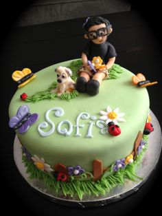 dog and flowers cake