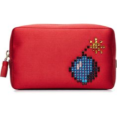 Anya Hindmarch Bomb Makeup Pouch ($409) ❤ liked on Polyvore featuring beauty products, beauty accessories, bags & cases, red and anya hindmarch