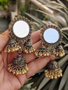 Afghani Jewelery-mirror Jewelery-mirror earrings- indian jewelry-jhumkas