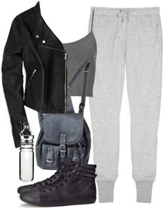Derek Inspired Hiking Outfit by veterization featuring a thermo water bottle Topshop strappy top / American Eagle Outfitters black jacket / Zoe Karssen track pants / H&M flat shoes, $20 / Sagaform...