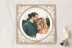 """Floral Circle"" - Rustic Save The Date Cards in Kraft by Katharine Watson."
