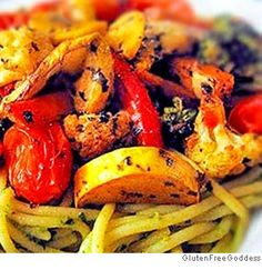 Roasted Vegetables in a Pasta Nest