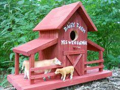 folk art bird house.barn house birdhouse