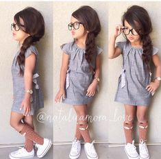 Poofy side braid feeling extra girly👗💁🏻 This dress is just toooo adorable😍😍 available at Fox Socks from Little Girl Fashion, Toddler Fashion, Kids Fashion, Fashion Hair, Cute Baby Girl Outfits, Toddler Outfits, Baby Girls, Outfits Niños, Kids Outfits