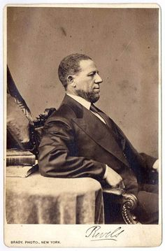 The FIRST Black Senator; a RARE photograph and great portrait by Mathew Brady - a cabinet card photograph of Hiram Rhoades Revels (1822-1901). Of mixed African and Indian descent, he was a Methodist minister and later the first Black Senator (Mississippi) during Reconstruction, later the President of Alcorn University.