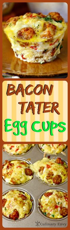 Bacon Tater Egg Cups are packed full of protein and veggies!  Make ahead and easily reheat.  The perfect way to start your day! Click to read more or pin and save for later!