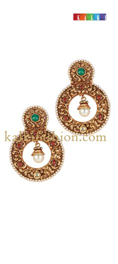 Buy it now http://www.kalkifashion.com/antique-gold-earing-with-pearl.html Antique gold earing with pearl