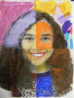 Mixed Media Portraits- just upload student photos into Picasa, print 4 section poster size, use different elements to color or paint each section. Perfect for Meet the Artist night! 6th Grade Art, Third Grade, Kids Art Class, Art Curriculum, School Art Projects, Art Lessons Elementary, Preschool Art, Art Classroom, Art Club
