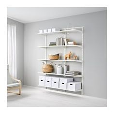 IKEA - ALGOT, Wall upright/shelves, The parts in the ALGOT series can be combined in many different ways and easily adapted to your needs and space.Since you only need to click in the brackets, shelves and accessories, it is easy to assemble, adjust and change your storage solution.Can also be used in bathrooms and other damp indoor areas.