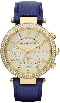 Michael Kors Women's Chronograph Parker Navy Leather Strap Watch 39mm MK2280 on shopstyle.com