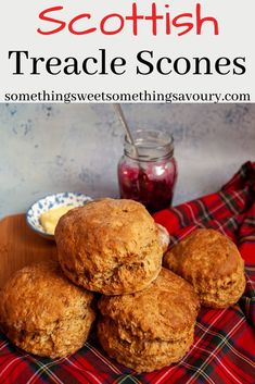 These big, tall, fluffy Treacle Scones have a hint of cinnamon, mixed spice and black treacle. They are very easy to make and are absolutely delicious spread with butter and jam! Scottish Desserts, Scottish Dishes, Scottish Recipes, Lemon Scones, Savory Scones, Baking Recipes, Dessert Recipes, Scone Recipes, Baking Ideas