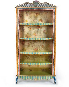 MacKenzie-Childs Arlecchino Bookcase ~ Perfect for shabby chic, boho, bohemian home decor. Whimsical Painted Furniture, Eclectic Furniture, Hand Painted Furniture, Funky Furniture, Painted Chairs, Paint Furniture, Handmade Furniture, Repurposed Furniture, Furniture Making
