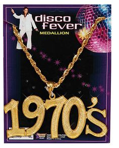 Add a little bling bling to your look with this Gold Necklace. You'll catch disco fever with this stylish necklace. Disco Halloween Costume, Halloween Forum, Trendy Halloween, 1970s Costumes, Werewolf Costume, 1970s Clothing, 1970s Disco, Gold Medallion, Costume Necklaces