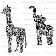 Tribal Animals (Elephants & Giraffes) Tribal Animal Tattoos, Giraffe Tattoos, Tribal Animals, Tattoo Elephant, Bad Tattoos, Time Tattoos, Dream Tattoos, Future Tattoos, Tattos