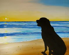 Days End Dog on Beach at Sunset original acrylic by PaintedbyCarol, $200.00