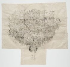 "Peacock  Kiki Smith (American, born Germany 1954)    1997. Etching, composition and sheet (irreg.): 71 1/2"" x 6' 4 3/8"" (181.6 x 194 cm). Publisher: unpublished. Printer: Columbia University, New York. Edition: several known variants. Lily Auchincloss Fund. © 2012 Kiki Smith  39.2003"