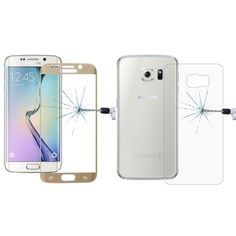 [$6.16] 0.2mm 9H Surface Hardness 3D Curved Surface Full Screen Cover Explosion-proof Tempered Glass Front Film + 2.5D Back Film for Samsung Galaxy S6 Edge+ / G928(Gold)