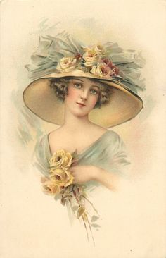 pretty woman in off shoulder blue dress, enormous hat trimmed with roses, three yellow roses, looks front