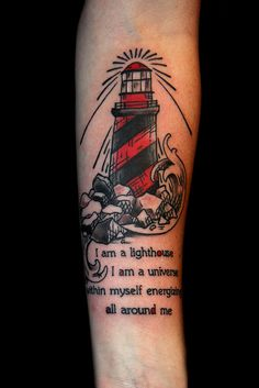 lighthouse tattoo with text by Deanna Wardin @ Tattoo Boogaloo, via Flickr