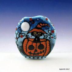"""PEEK-A-BOO PUMPKIN"" byKAYO  Handmade CUTE CAT Lampwork Art Glass Focal Bead SRA #Lampwork"