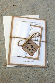 Rustic Wedding Invitation Set handmade by me Rustic by SweetSights