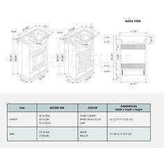 SMALL BATHROOM VANITY CABINET AND SINK WHITE - PE1612W NEW PETITE VANITY - - Amazon.com