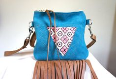 SUMMER///Mini Suede and Textile Fringe Messenger by arebycdesign, $44.00