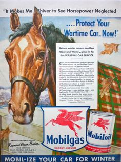 1940-49 Discreet Original Print Ad 1943 Mobilgas Mobiloil Right Son Change For Summer Horse Merchandise & Memorabilia