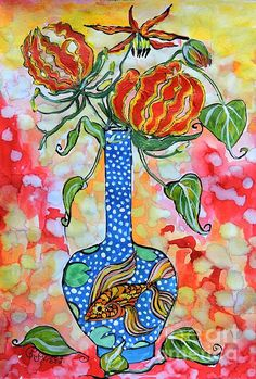 Flame Lily in Goldfish Vase.  Mixed media on paper by Caroline Street. #lily #still-lifeart #flowers